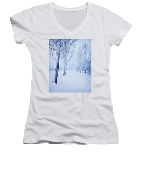 Blue Winter Path Women's V-Neck T-Shirt (Junior Cut) by Theresa Tahara