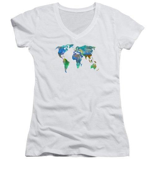 Blue World Transparent Map Women's V-Neck