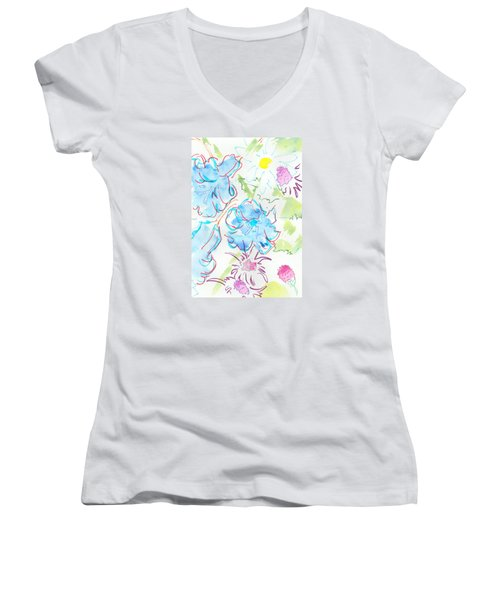 Bluebells English Wild Flowers Women's V-Neck