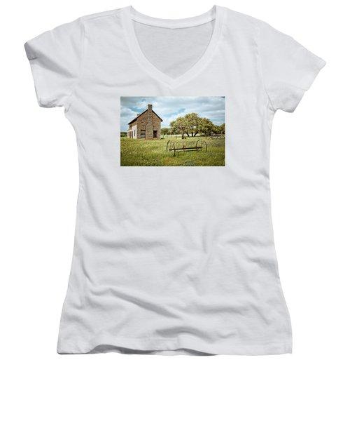 Women's V-Neck T-Shirt (Junior Cut) featuring the photograph Bluebonnet Dreams by Linda Unger