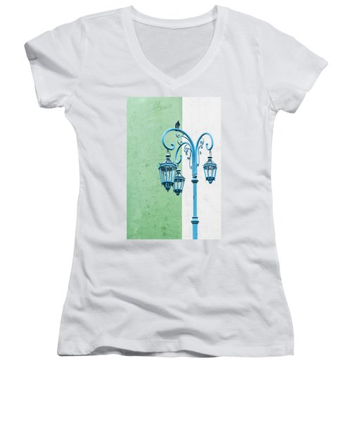 Blue,green And White Women's V-Neck