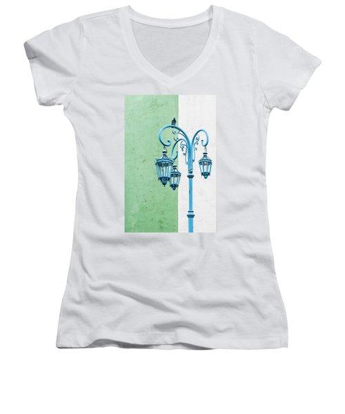 Blue,green And White Women's V-Neck