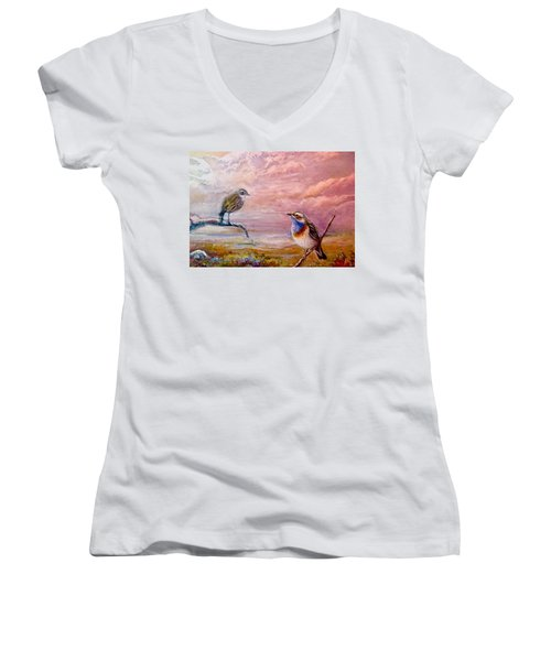 Bluethroat On The Tundra #2 Women's V-Neck T-Shirt (Junior Cut) by Patricia Schneider-Mitchell