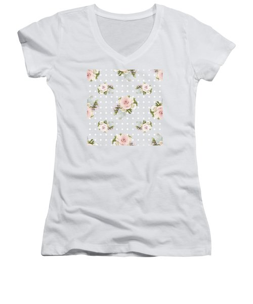 Women's V-Neck T-Shirt (Junior Cut) featuring the painting Blush Pink Floral Rose Cluster W Dot Bedding Home Decor Art by Audrey Jeanne Roberts