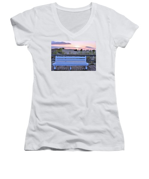 A Welcome Invitation -  The Boardwalk Bench Women's V-Neck
