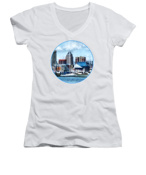 Boat - Baltimore Skyline And Harbor Women's V-Neck