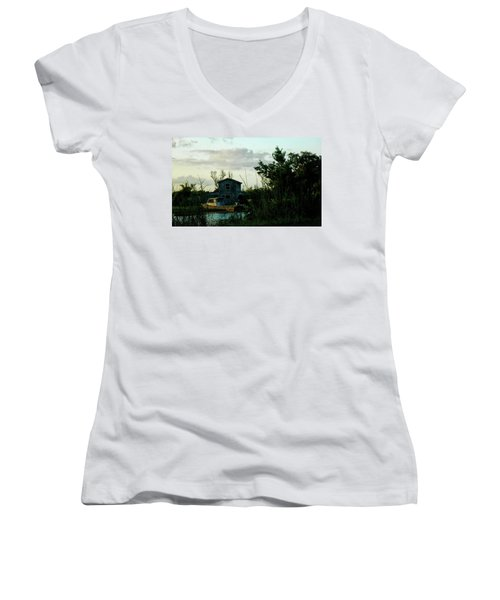 Women's V-Neck T-Shirt (Junior Cut) featuring the photograph Boat House by Cynthia Powell