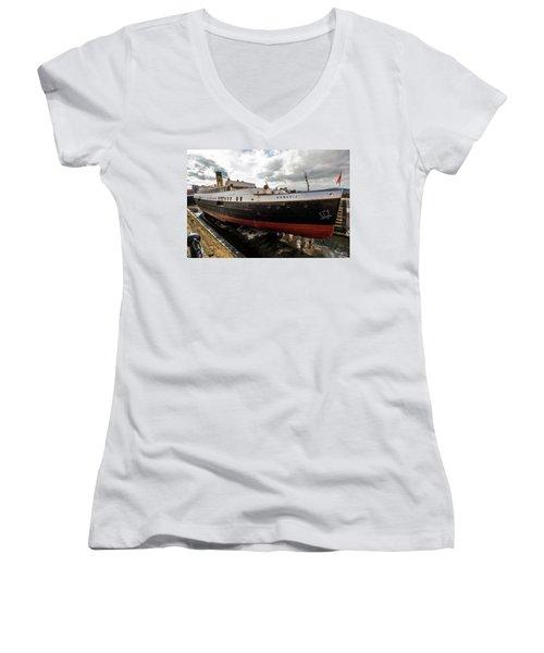 Boat In Drydock Women's V-Neck (Athletic Fit)