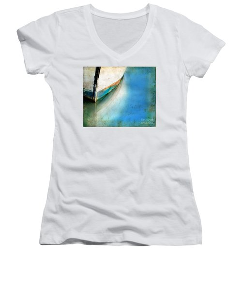 Bow Of An Old Boat Reflecting In Water Women's V-Neck T-Shirt (Junior Cut) by Jill Battaglia