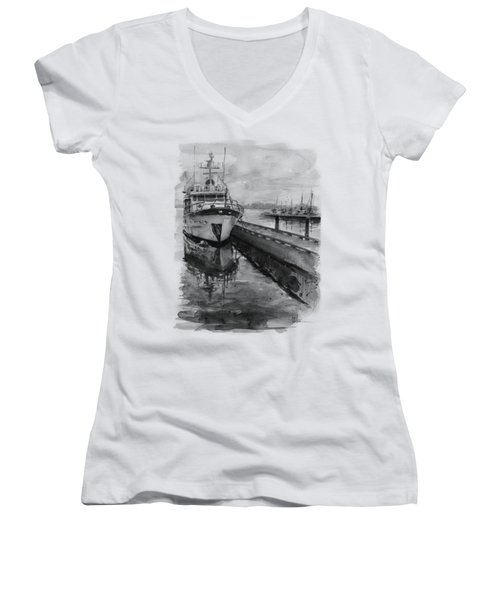 Boat On Waterfront Marina Kirkland Washington Women's V-Neck T-Shirt (Junior Cut) by Olga Shvartsur