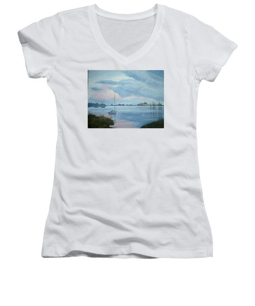 Boat Sunset Women's V-Neck T-Shirt