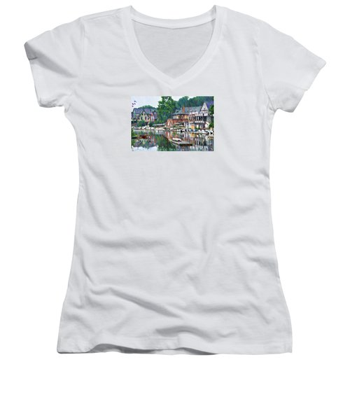 Boathouse Row In Philadelphia Women's V-Neck