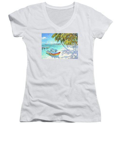 Women's V-Neck T-Shirt (Junior Cut) featuring the painting Boats  by Dmitry Spiros