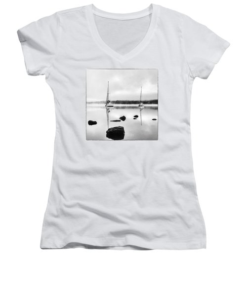 Boats On Ullswater In The Lake District Women's V-Neck