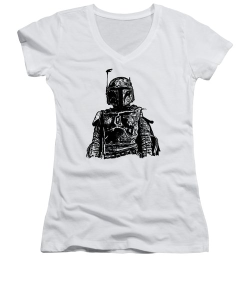 Boba Fett From The Star Wars Universe Women's V-Neck T-Shirt (Junior Cut) by Edward Fielding