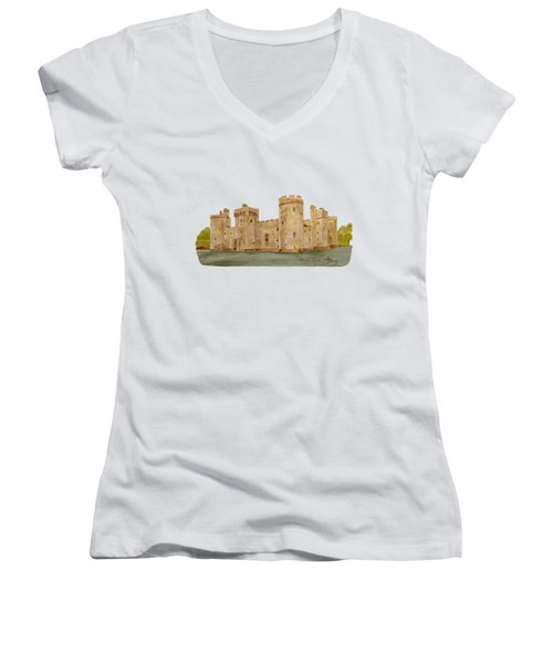 Bodiam Castle Women's V-Neck T-Shirt (Junior Cut) by Angeles M Pomata