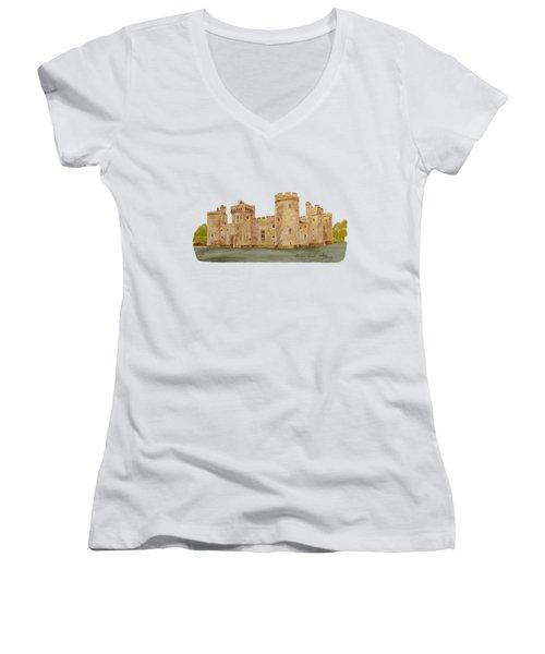 Bodiam Castle Women's V-Neck T-Shirt (Junior Cut)