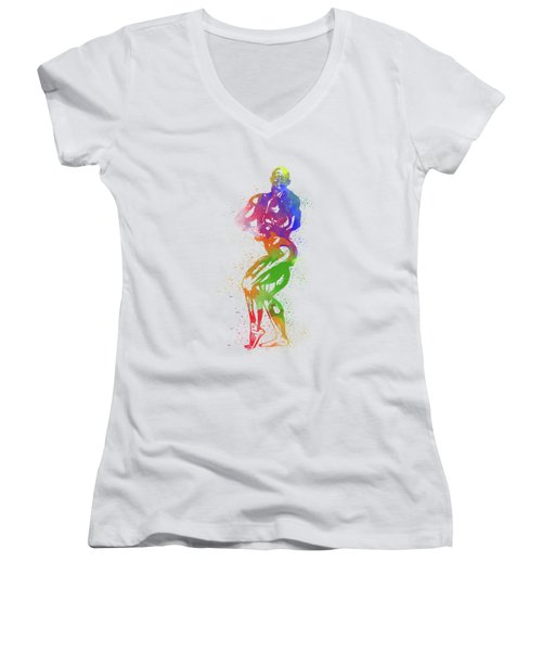 Bodybuilder Watercolor 2 Women's V-Neck (Athletic Fit)