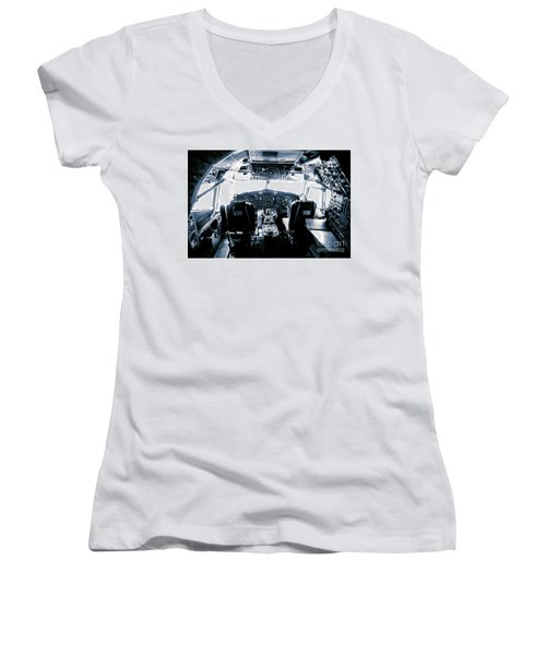 Women's V-Neck T-Shirt (Junior Cut) featuring the photograph Boeing 747 Cockpit 22 by Micah May