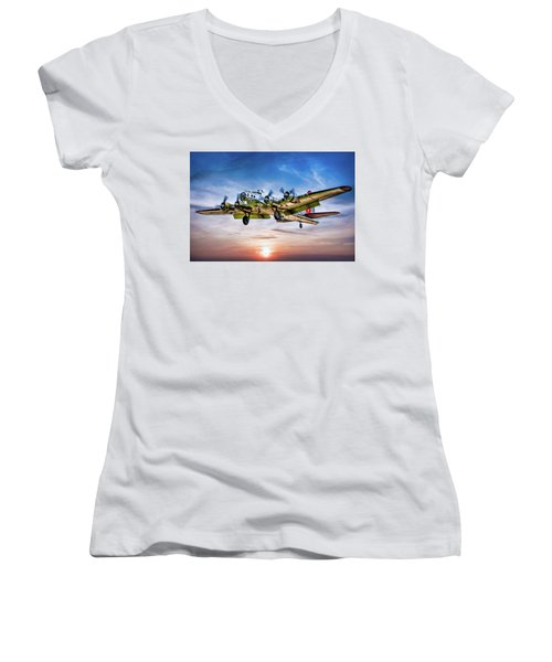 Women's V-Neck T-Shirt (Junior Cut) featuring the photograph Boeing B17g Flying Fortress Yankee Lady by Chris Lord