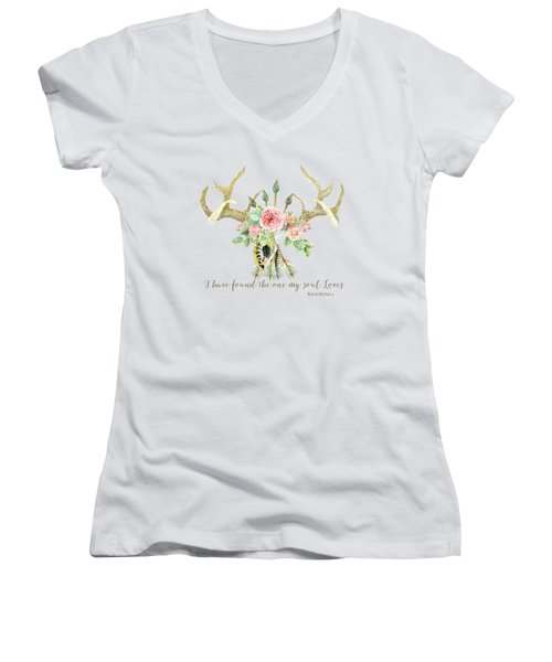 Boho Love - Deer Antlers Floral Inspirational Women's V-Neck T-Shirt (Junior Cut) by Audrey Jeanne Roberts