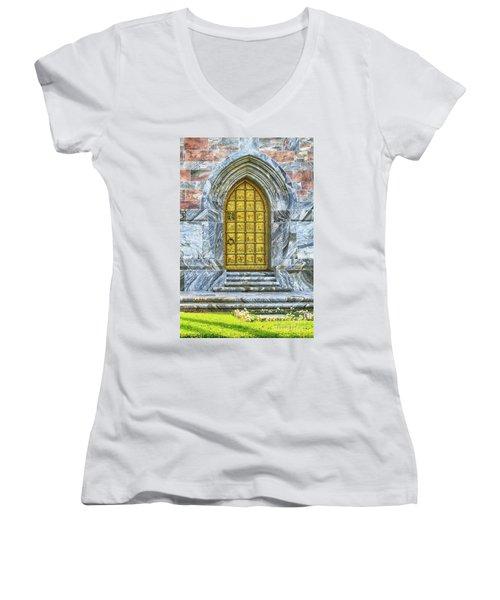 Women's V-Neck T-Shirt (Junior Cut) featuring the photograph Bok Tower Door by Deborah Benoit