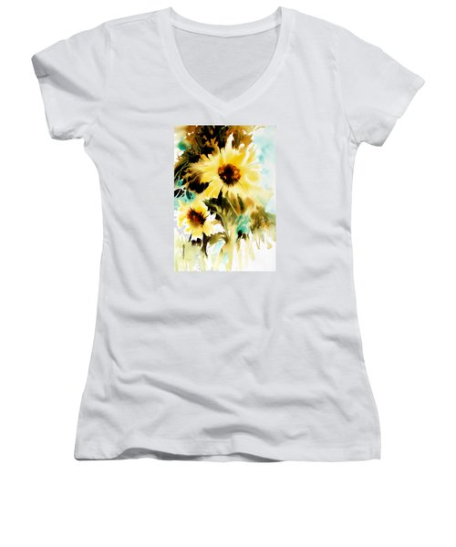 Women's V-Neck T-Shirt (Junior Cut) featuring the painting Bold And Beautiful by Rae Andrews