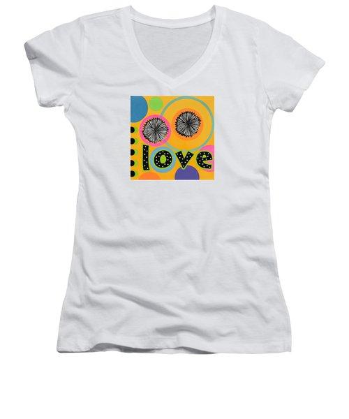 Women's V-Neck T-Shirt (Junior Cut) featuring the mixed media Bold Love by Gloria Rothrock