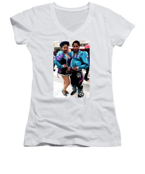 Bolivian Couple Dancers Women's V-Neck (Athletic Fit)