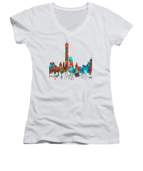 Bologna Italy  Skyline  Women's V-Neck T-Shirt (Junior Cut) by Marlene Watson