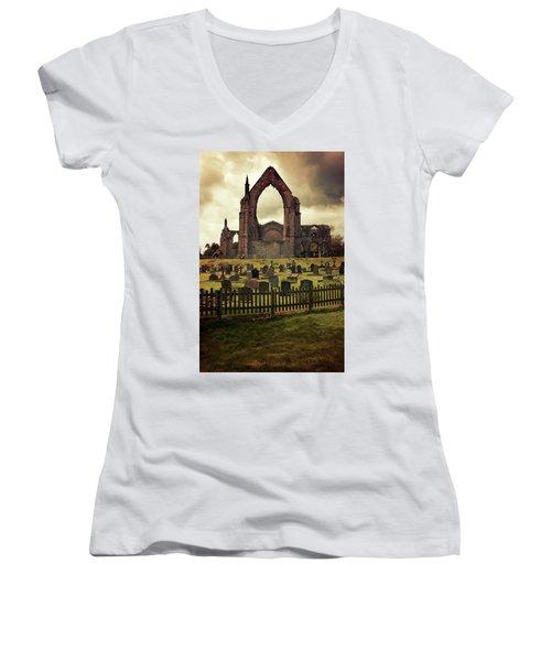 Bolton Abbey At Sunset Women's V-Neck T-Shirt (Junior Cut) by Jaroslaw Blaminsky