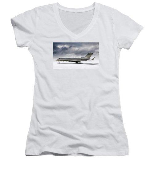 Bombardier Global 5000 Women's V-Neck T-Shirt (Junior Cut) by Douglas Pittman