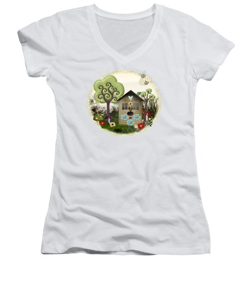Bonnie Memories Whimsical Mixed Media Women's V-Neck T-Shirt (Junior Cut) by Sharon and Renee Lozen