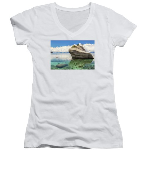 Bonsai Rock Women's V-Neck T-Shirt (Junior Cut) by Marc Crumpler