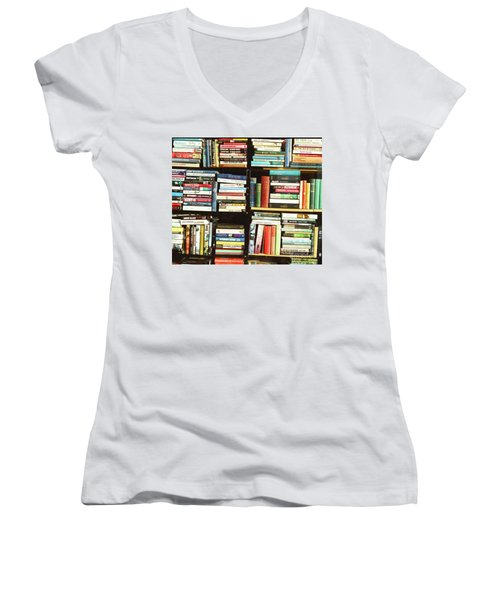 Women's V-Neck T-Shirt (Junior Cut) featuring the photograph Book Shop by Rebecca Harman