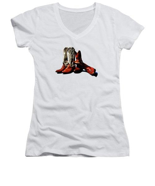 Boot Friends Cowboy Boot T Shirt Art Women's V-Neck T-Shirt (Junior Cut) by Lesa Fine