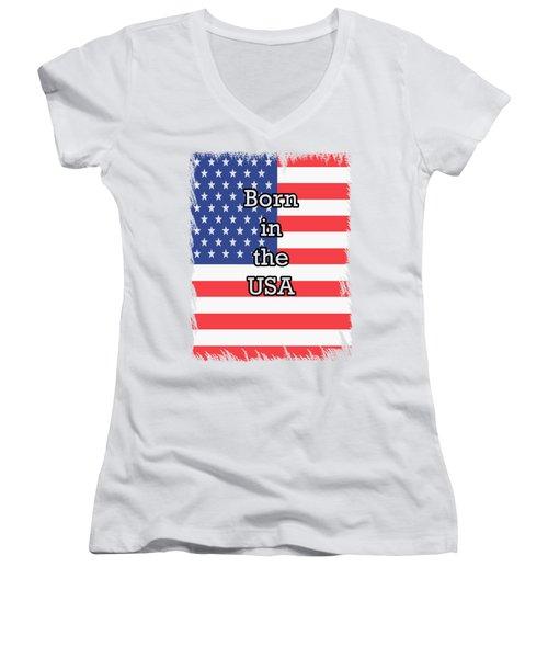 Born In The Usa Women's V-Neck