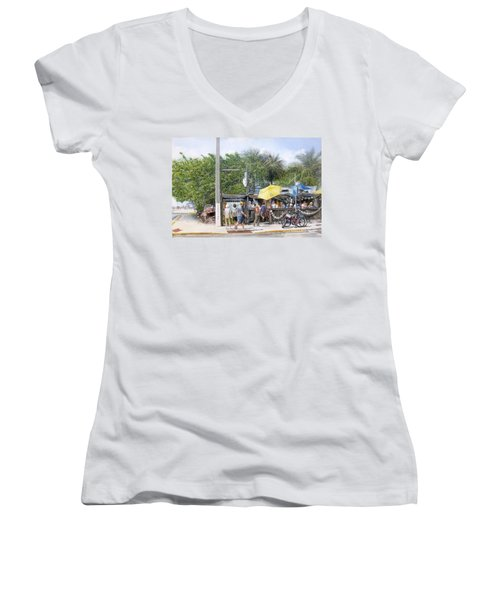 Women's V-Neck T-Shirt (Junior Cut) featuring the painting Bos Fish Wagon by Bob George