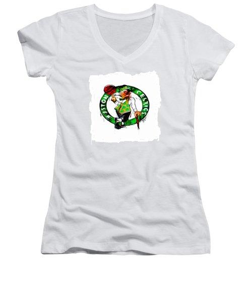 Boston Celtics 2b Women's V-Neck T-Shirt (Junior Cut)
