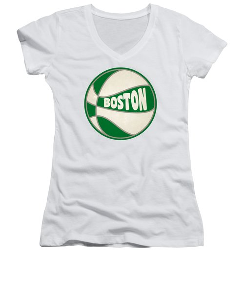 Boston Celtics Retro Shirt Women's V-Neck T-Shirt (Junior Cut) by Joe Hamilton