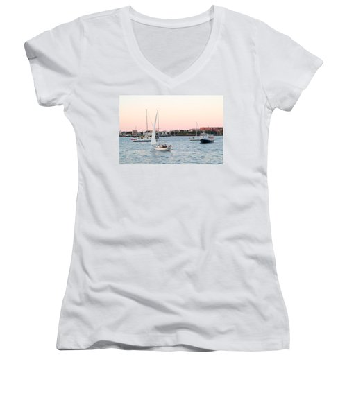 Boston Harbor View Women's V-Neck (Athletic Fit)