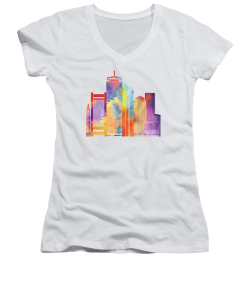 Boston Landmarks Watercolor Poster Women's V-Neck T-Shirt (Junior Cut) by Pablo Romero