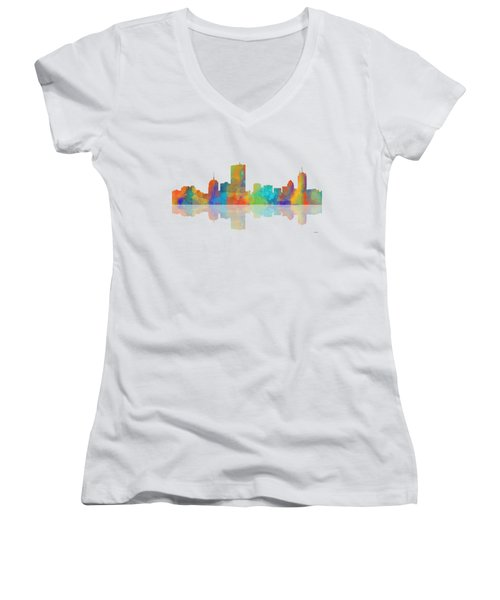 Boston Ma. Skyline Women's V-Neck T-Shirt (Junior Cut) by Marlene Watson