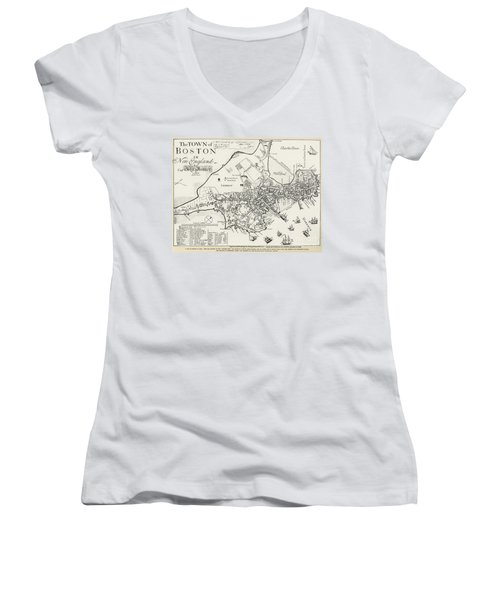 Boston Map, 1722 Women's V-Neck