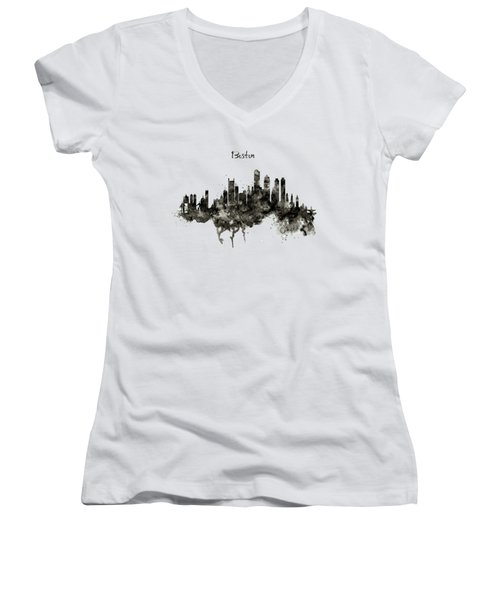 Boston Skyline Black And White Women's V-Neck T-Shirt (Junior Cut) by Marian Voicu