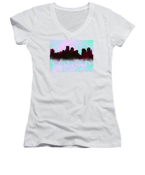 Boston Skyline Sky Blue  Women's V-Neck T-Shirt