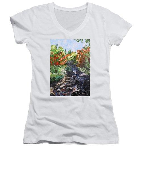 Botanic Garden Merano 1 Women's V-Neck T-Shirt (Junior Cut) by Valerie Ornstein