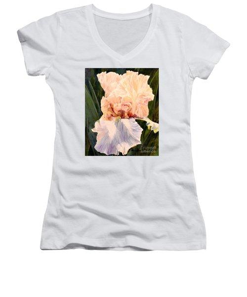 Botanical Peach Iris Women's V-Neck T-Shirt (Junior Cut) by Laurie Rohner