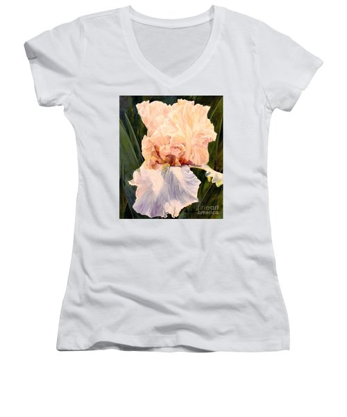 Botanical Peach Iris Women's V-Neck