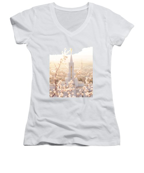Bountiful Temple Blooms Women's V-Neck
